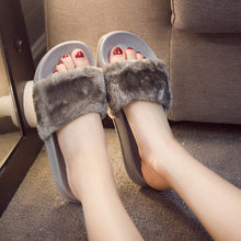 Slippers Womens Zapatos Mujer Ladies Slip On Sliders Fluffy Faux Fur Flat New Fashion Female Casual Slipper Flip Flop Sandal - 64 Corp