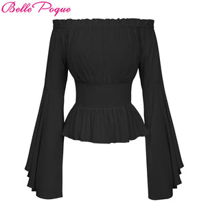 Belle Poque Sexy Off Shoulder Womens Tops Retro Vintage Renaissance Gothic Blouse femme Women Victorian Long Bell Sleeves Shirts - 64 Corp