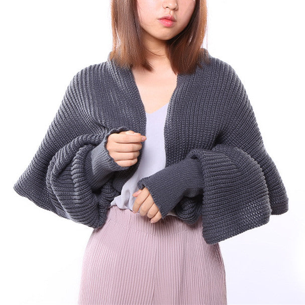 New Two Uses Novelty Female Sweater Winter Knitted Scarf Warm Shawl Knit Poncho Fashion Scarves for Women Scarf Sleeve Snud Coat - 64 Corp