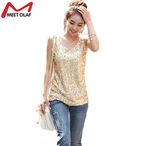 New Women Tops Summer Plus Size Thin Slim Gold Sequined Blingbling Vest Bottoming Shirt Ladies Sleeveless Tee Loose Tops YL346 - 64 Corp