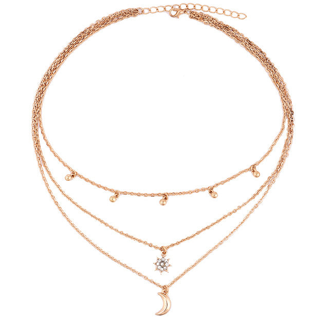 RscvonM New Boho Jewelry Multi Layer Beads Choker Necklaces for Women Sexy Moon Fashion Pendant Vintage Collier choker Necklace - 64 Corp