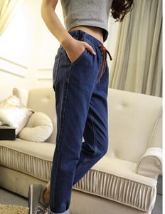 2018 Women Pants Jeans Summer Elastic Waist Vintage Denim Jeans Leisure Boyfriend jeans for women Plus size 2XL 3XL 4XL 5XL - 64 Corp