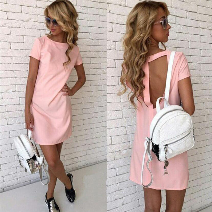 Short Sleeve Girl Preppy Style Party Mini Slim Dress - 64 Corp