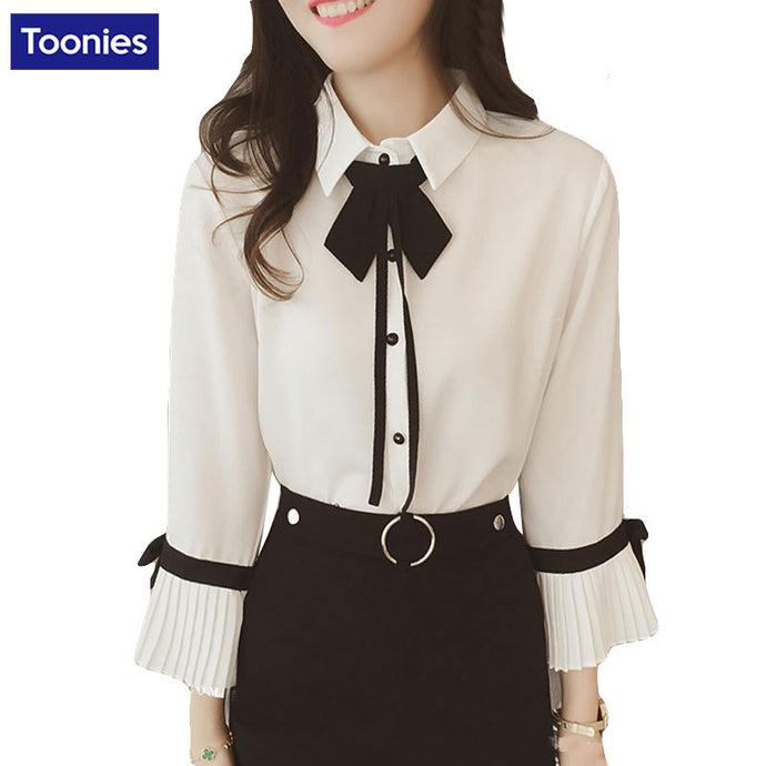 Chiffon Shirts Women Blouses 2018 Spring Autumn Fashion Preppy Casual Blouse Bow Tie Long Trumpet Sleeve Women's Shirt - 64 Corp