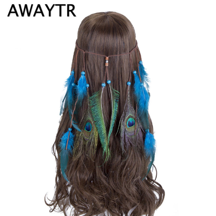 Feather Head Band AWAYTR Feather Headband Hippie Bohemian Indian Women Blue Feathers Hippy American Native Hair Accessories - 64 Corp