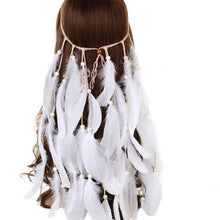 AWAYTR Boho White Red Pink Feather Headband Women Festival Wedding Headwear Gypsy Feather Rope Crown Headdress Hair Accessories - 64 Corp