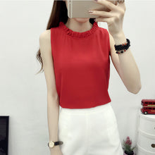 New Arrival 2018 Summer Fashion Solid Sleeveless Women Shirt Chiffon Blouses Feminina Ruffles O-Neck Blusa in 6 Colors 64429 - 64 Corp