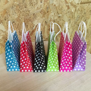 10PCS 21*15*8cm Polka Dot kraft paper gift bag Festival Paper bag with handles Fashionable jewellery bags wedding birthday party - 64 Corp
