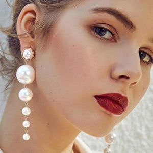 Trendy Elegant Created Big Simulated Pearl Long Earrings - 64 Corp