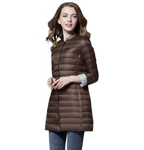 Woman Spring Padded Warm Coat Ultra Light Duck Down Jacket Long Female Overcoat Slim Solid Jackets Winter Coat Portable Parkas