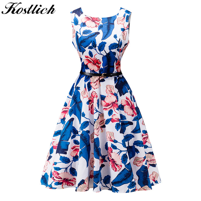 Kostlich Summer Dress Women Retro Cotton Floral Print 50s 60s Vintage Dress With Belt Sleeveless Elegant Party Dresses Sundress - 64 Corp