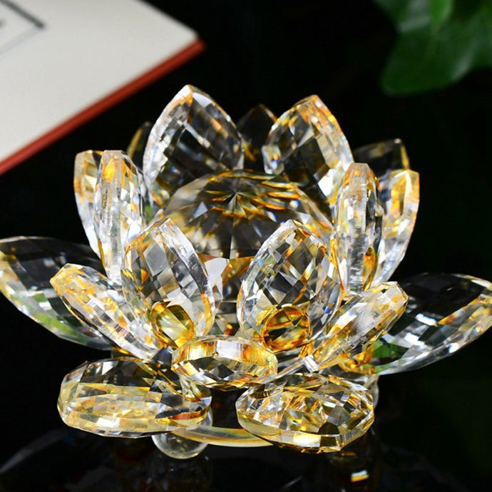 Lotus Crystal Glass Figure Paperweight Ornament Feng Shui Decor Collection Figurines Home Wedding Party Decor Gifts Souvenir - 64 Corp