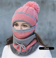 2017 Women Hat Scarf Winter Sets Cap Mask Collar Face Protection Girls Cold Weather Accessory Women Ball Caps Scarf Knitted Wool - 64 Corp