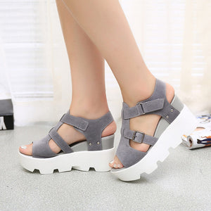 Open Toe Platform Gladiator Wedges - 64 Corp