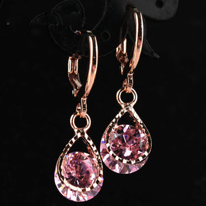 Trendy Water Drop CZ Crystal Earrings for Women Vintage Rose Gold Color Wedding Party Earrings Jewelry brinco feminino Gift - 64 Corp