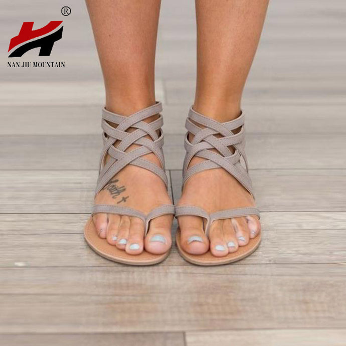 Plus Size 34-43 Flats Summer Women's Sandals 2017 New Fashion Casual Shoes For Woman European Rome Style Sandalias - 64 Corp