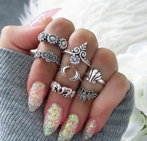 RAVIMOUR 7 Style Vintage Knuckle Rings for Women Boho Geometric Flower Crystal Ring Set Bohemian Midi Finger Jewelry Bague Femme - 64 Corp