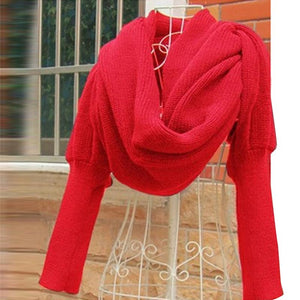 Novelty Desing Long Sleeve Winter Warm Acrylic Woolen Scarf Fashion Women Pure Color Wool Knitting Scarf Shawls - 64 Corp