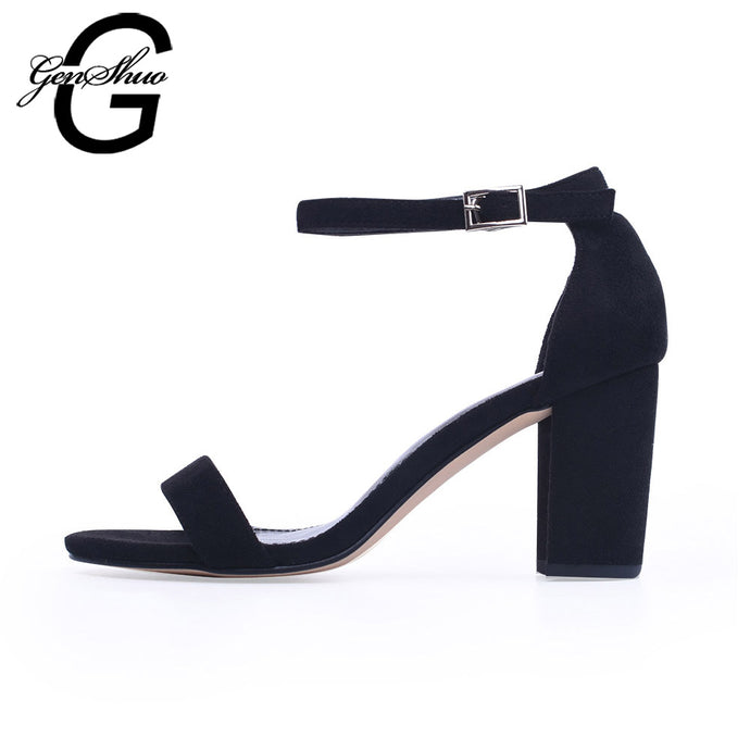 GENSHUO 2018 Ankle Strap Heels Women Sandals Summer Shoes Women Open Toe Chunky High Heels Party Dress Sandals Big Size 42 - 64 Corp