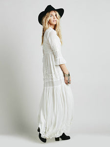 2018 new free shipping Bohemia embroidery maxi dress women's white ruffles elegant sweet long loose dress fashion party dresses - 64 Corp