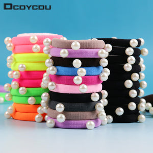 10 PCS/lot Candy Fluorescence Colored Hair Holders High Quality Pearl Rubber Bands Hair Elastics Accessories Girl Women Tie Gum - 64 Corp