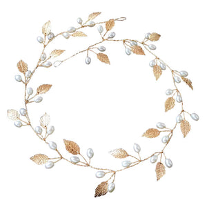 Hair Accessories Wedding Bridal Headband Imitation Pearl Leaves Hairband Women Head Ornament Ladies Hairs Jewelry KQS8 - 64 Corp