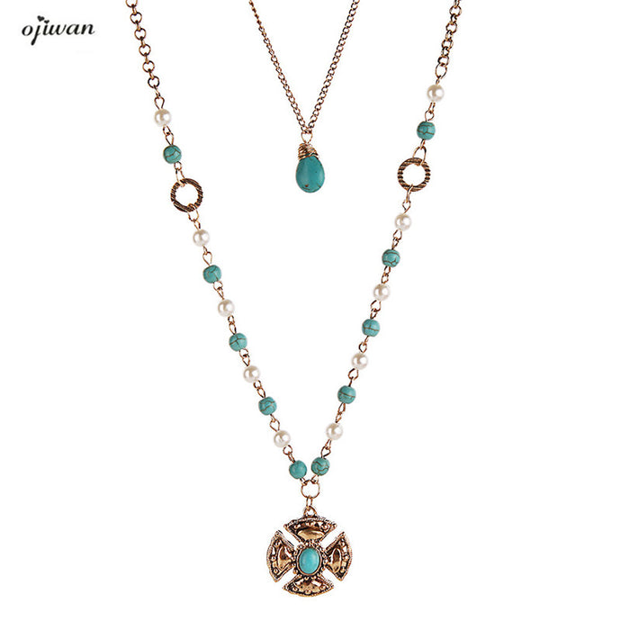 Maxi Collier Femmes Navajo Beads Necklace Hippie Cowgirl Online Shopping India American Jewelry Hippie Boho Chic Necklace - 64 Corp