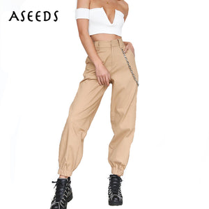 2018 Spring Army military cargo pants women black high waist pants Winter Casual cotton office long Trousers female Sweatpants - 64 Corp