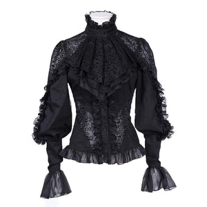 Black Autumn Vintage Lace Mesh Long Sleeve Lantern Sleeve Top - 64 Corp