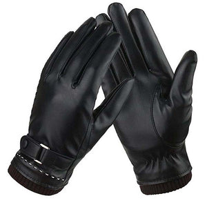 Simple Elegant Style Women Winter Warm Leather Gloves - 64 Corp