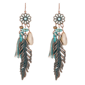 Antique Vintage Bohemian Ethnic Tassel Fringe Leaf Stones Earrings For Women Girls Anniversary Wedding Party Jewelry Charms - 64 Corp