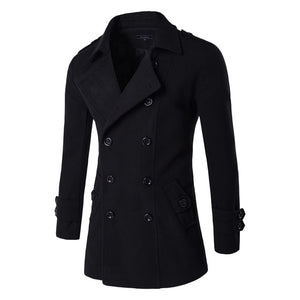 Letskeep NEW Men's Spring Autumn Overcoat for man wool & blends double breasted peacoat trench coat men Slim fit, ZA193