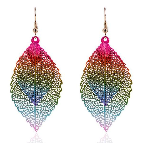 Find Me 2018 fashion Luxury boho Double color Leaf Dangle earrings Vintage Leaves long tassels drop Earring for women Jewelry - 64 Corp