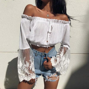 White Lace Crochet Crop Top - 64 Corp