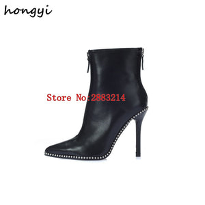 Pointed Toe Sexy Stiltto Woman Studs Embellished Ankle Booties Thin High Heels Black Leather Lady Pumps Boots Shoes Front Zipper - 64 Corp