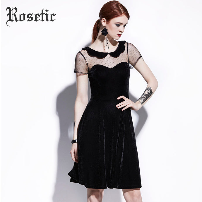 Rosetic Gothic Casual Dress Summer Women Black A-Line Poly Spun Velour Hollow Party Preppy Fashion Slim Mesh Vintage Goth Dress - 64 Corp