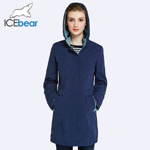 ICEbear 2018 Womens Coat High Quality Autumn And Spring Long Trench Coat For Women Windbreaker Hat Detachable 17G116D