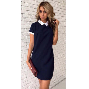 Short Sleeve Patchwork Turn-Down Collar Pink Dark Blue Casual Style  Mini Party Dresses - 64 Corp