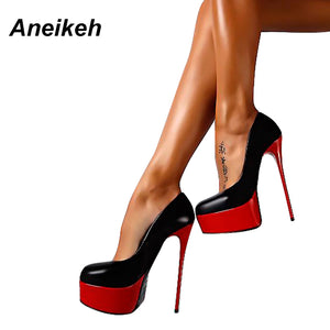 Aneikeh Spring & Autumn Woman Sexy Pumps Extreme High Heels Designer Shoes Platform Pumps Stiletto Female Valentine Shoes - 64 Corp