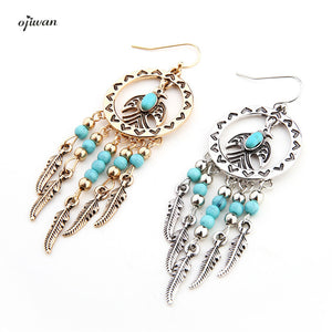 Ojiwan Tribal Bird Earrings Hoop Boho Feather Earrings Hippie Indian Native American Jewelry Navajo aritos Gypsy Animal Earrings - 64 Corp