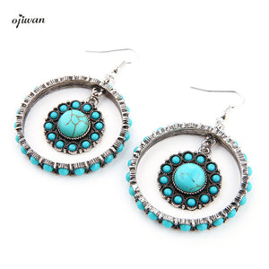 Gypsy Earrings Hoop Bohemian Earrings Hippie aritos Indian Native American Jewelry Navajo Boho Chic Earrings Tribal Earrings - 64 Corp