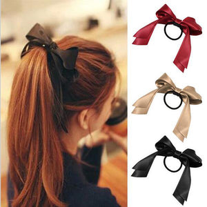 1pc Women Tiara Satin Bow Tie Scrunch Hair Band Ribbon Scrunchie Ponytail Holder Rope Rings Hair Accessories for Girl - 64 Corp