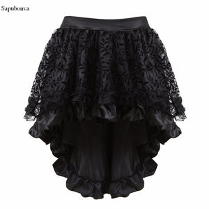 Sapubonva Multilayer Lace Victorian Burlesque Costumes Gothic Steampunk Clothing Ruffled Chiffon Skirt For Women Matching Corset - 64 Corp