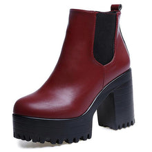 COVOYYAR 2018 Vintage Platform Chunky Heel Ankle Boots Women Spring Autumn Fashion Booties Woman Shoes Black/Red Size 40 WBS279 - 64 Corp