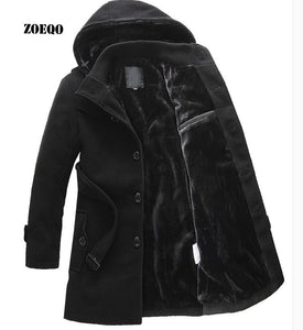 ZOEQO NEW thick longer plus size coats Men jacket Winter Overcoat Men's trench jacket Male warm winter parka men plus size 641