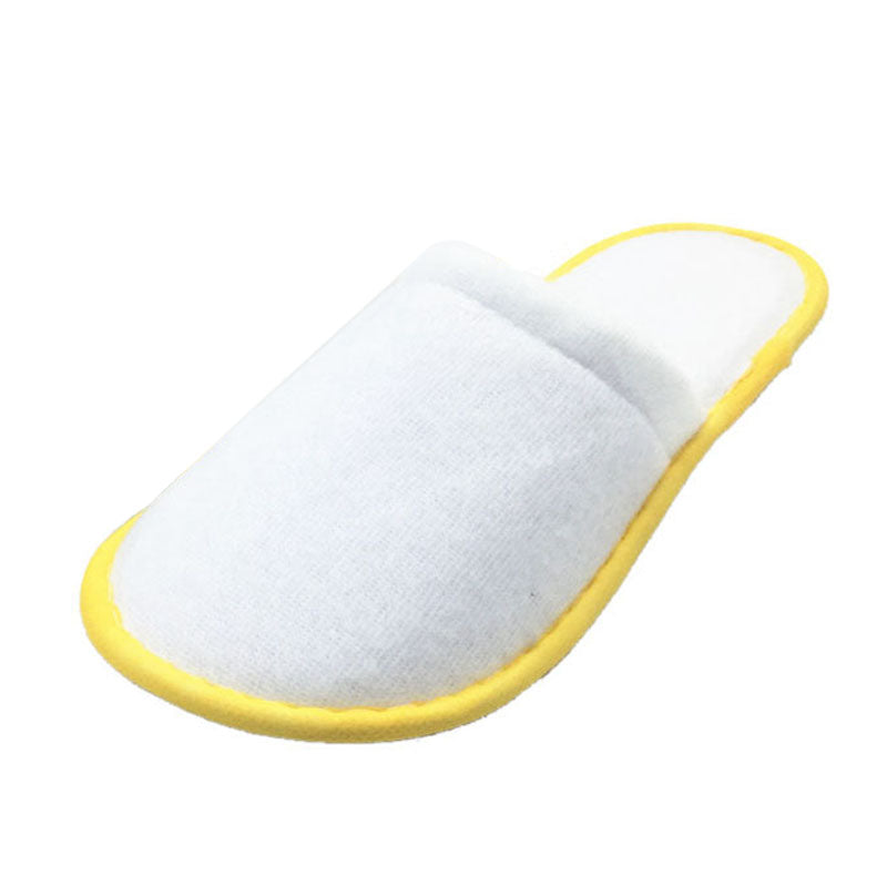 PHFU 5 pairs of White Towelling Hotel Disposable Slippers Terry Spa Guest Shoes Yellow - 64 Corp