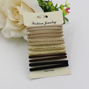 10pcs/pack Hair Tie Set  2016 Women Fashion  Hair Bands Hair Accessories Trendy Hairband For Women Elastic Sets Braid Elastic - 64 Corp