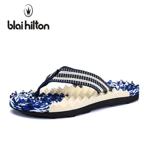 blaibilton 2018 Summer Beach Slippers Men Shoes Flip Flops Patchwork EVA Stripe Outside Massage Slipper Male Soft High quality - 64 Corp