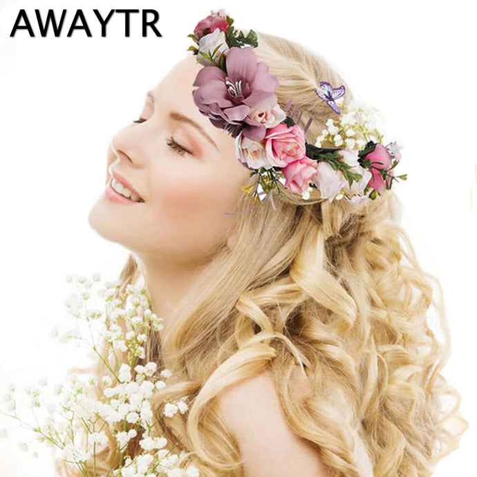 AWAYTR Flower Crown Wedding Bride Wreath of Flowers Head Band Bohemia Women Hair Accessories Flower Headband Headpiece - 64 Corp