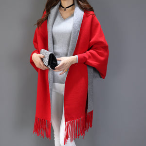 Causal Loose Tassel Knitted Cashmere Scarf / Poncho Capes - 64 Corp